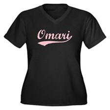 Vintage Omari (Pink) Women's Plus Size V-Neck Dark