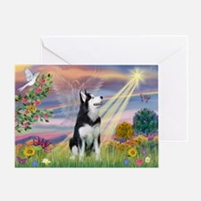 Cloud Angel & Siberian Husky Greeting Card