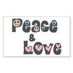 Peace and Love Stickers (Rect 50 pk)