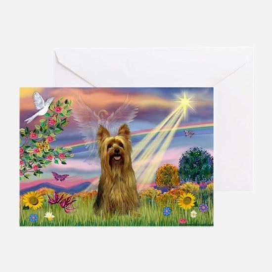 Cloud Angel & Silky Terrier Greeting Cards (Pk of