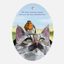 Superb cute Norwegian forest cat Oval Ornament