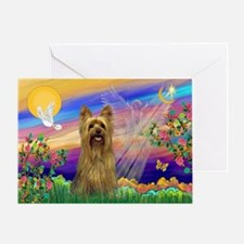 Guardian Angel Silky Terrier Greeting Card