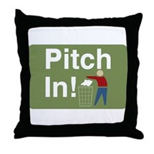 Pitch In Keep America Clean Throw Pillow