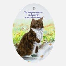 Wonderful sharp skogkatt Oval Ornament