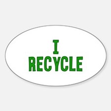 I Recycle Oval Decal