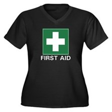 First Aid Women's Plus Size V-Neck Dark T-Shirt