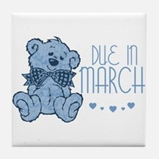 Blue Marbled Teddy Due In March Tile Coaster