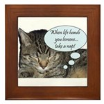 CAT NAP HUMOR Framed Tile