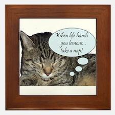 CAT NAP HUMOR Framed Tile