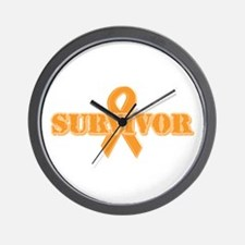 Orange Ribbon Survivor Wall Clock