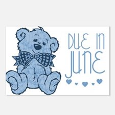 Blue Marbled Teddy Due In June Postcards (Package