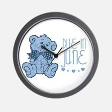 Blue Marbled Teddy Due In June Wall Clock