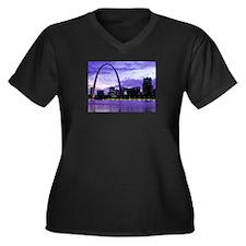 St. Louis Skyline Women's Plus Size V-Neck Dark T-