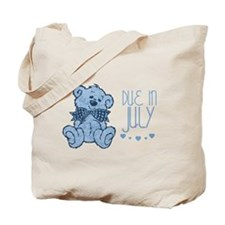 Blue Marbled Teddy Due In July Tote Bag