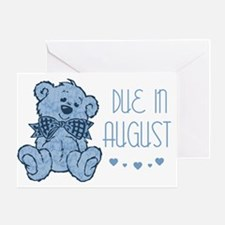 Blue Marbled Teddy Due In August Greeting Card