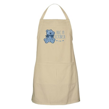 Blue Marbled Teddy Due In October BBQ Apron