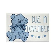 Blue Marbled Teddy Due November Rectangle Magnet