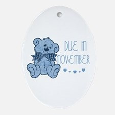 Blue Marbled Teddy Due November Oval Ornament