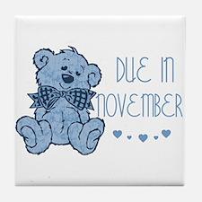 Blue Marbled Teddy Due November Tile Coaster
