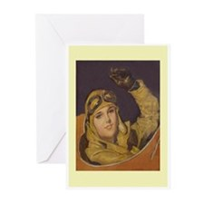 Aviatrix Greeting Cards-Yellow (Pk of 10)
