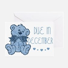 Blue Marbled Teddy Due In December Greeting Card
