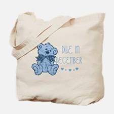 Blue Marbled Teddy Due In December Tote Bag