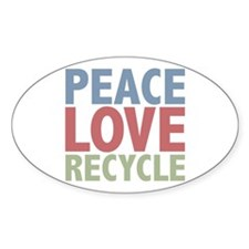 Peace Love Recycle Earth Day Oval Decal