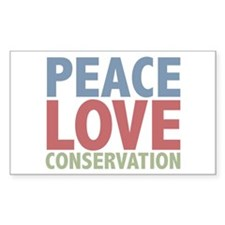 Peace Love Conservation Rectangle Sticker 10 pk)