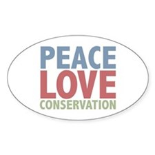 Peace Love Conservation Oval Decal