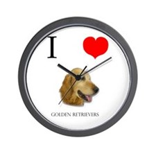 I Love Golden Retrievers Wall Clock
