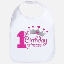1st Birthday Princess Baby Bib
