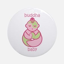 Om Buddha Baby Girl : Pink & Green Ornament (Round