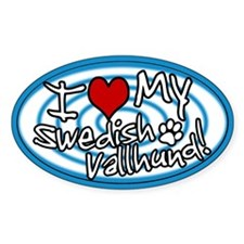 Hypno I Love My Swedish Vallhund Sticker Blue