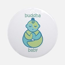 Om Buddha Baby : Blue & Green Ornament (Round)