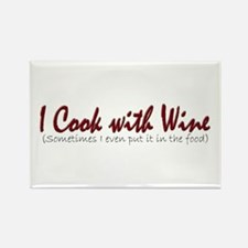 I Cook with Wine Rectangle Magnet
