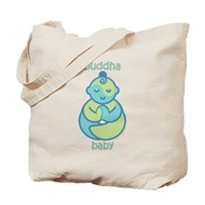 Happy Buddha Baby : Blue & Green Tote Bag