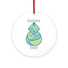 Happy Buddha Baby : Blue & Green Ornament (Round)