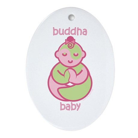 Happy Buddha Baby Girl : Pink & Green Ornament (Ov