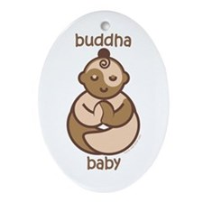 Happy Buddha Baby : Flesh Tones Oval Ornament