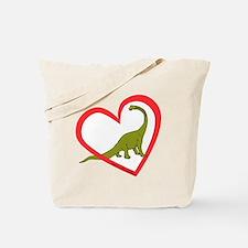 Heart Apatosaurus Tote Bag