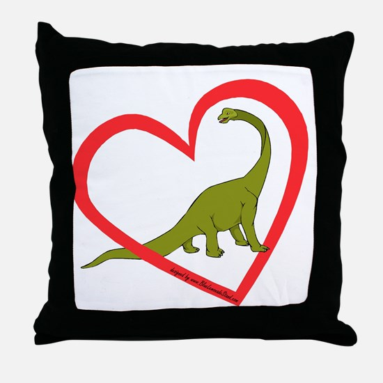Heart Apatosaurus Throw Pillow