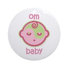 Om Baby : Pink & Green Ornament (Round)