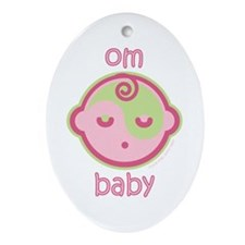 Om Baby : Pink & Green Oval Ornament