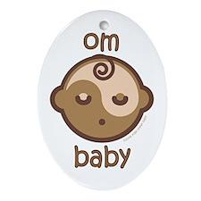 Om Baby : Flesh Tone Oval Ornament