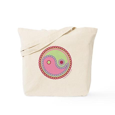 Paisley Ying & Yang : Pink & Green Tote Bag