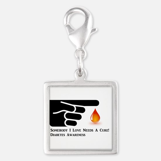 Diabetes Support Silver Square Charm
