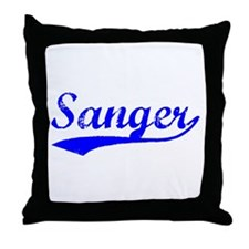 Vintage Sanger (Blue) Throw Pillow