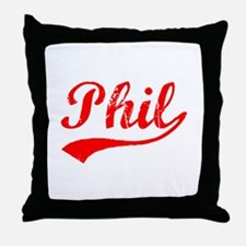 Vintage Phil (Red) Throw Pillow