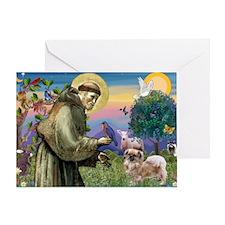 St. Francis & Tibetan Spaniel Greeting Card