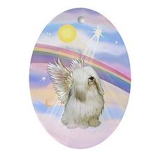 Cloud Angel & Tibetan Terrier Oval Ornament